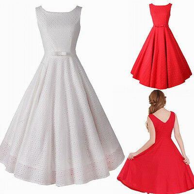 Women's Lace 1950s Vintage Party Formal Ball Cocktail Swing Dresses Knee Length