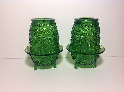 Vintage Green Glass Fairy Lamps Footed Set Of 2 Depression?