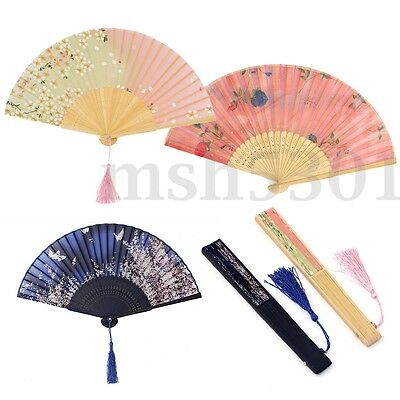 Chinese Culture Silk Bamboo Flower Folding Pocket Hand Fan Wedding Favor Gift