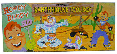 Vintage HOWDY DOODY Ranch House TOOLBOX (1950's) Clarabell Flub-A-Dub