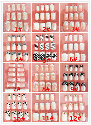 New French Style False Nail Tips with glue/Lady Designer Acrylic Fake Nail Set