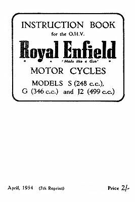 1953-1955 Royal Enfield models S G J2 instruction book