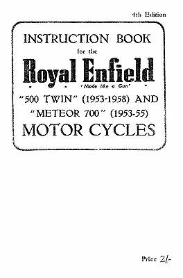 1953-1958 Royal Enfield 500 twin & Meteor 700 instruction book