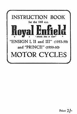 (1020) 1953-1960 Royal Enfield Ensign & Prince instruction book