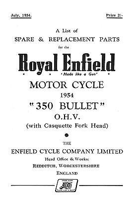 1954 Royal Enfield 350cc Bullet parts book
