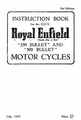 1954 Royal Enfield 350 & 500cc Bullet instruction book