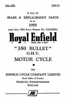 1955 Royal Enfield 350cc Bullet parts book