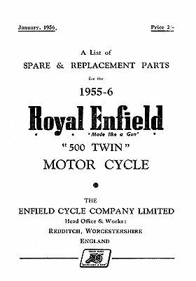 (1032) 1955-1956 Royal Enfield 500 Twin parts book