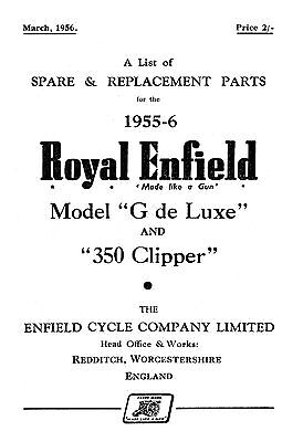 1955-1956 Royal Enfield model G & 350 Clipper parts book