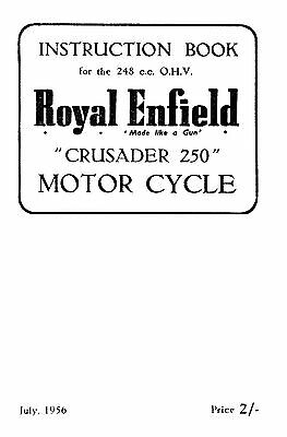 1956 Royal Enfield model Crusader 250 instruction book