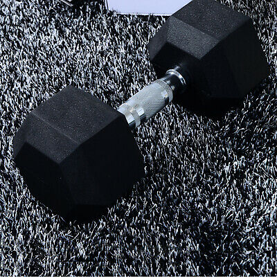HOMCOM 15kg Rubber Dumbbell Workout Hex Hexagonal Weight Fitness Exercise Gym