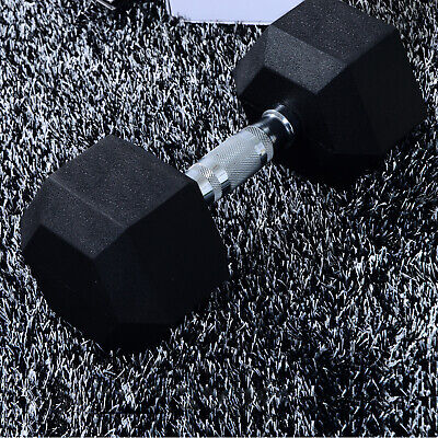 HOMCOM 20kg Rubber Dumbbell Workout Hex Hexagonal Weight Fitness Exercise Gym