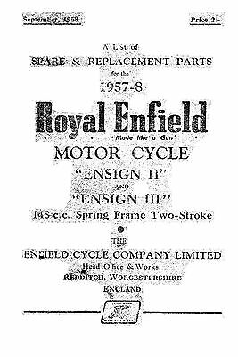 (1046) 1957-1958 Royal Enfield 'Ensign II & III' 148cc parts list