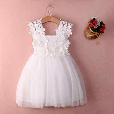 Baby Girls Summer Lace Flower Party Wedding Birthday Princess Tutu Dress