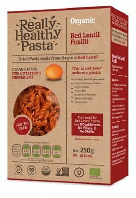 Really Healthy Pasta Organic Red Lentil Fusilli 250g (Pack of 2)