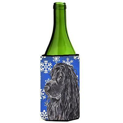 English Cocker Spaniel Blue Snowflake Winter Wine bottle sleeve Hugger 24 oz.