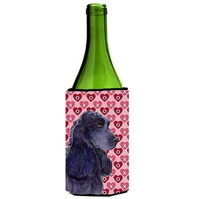 Black Cocker Spaniel Hearts Love Valentines Day Wine bottle sleeve Hugger 24 oz.