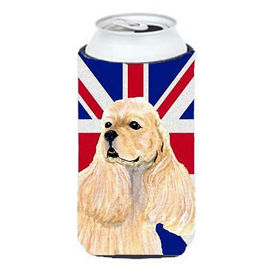 Cocker Spaniel Buff With English Union Jack British Flag Tall Boy bottle slee...