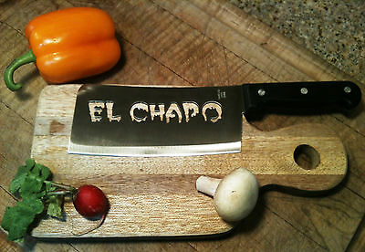 El Chapo (Guzman) Blood fonts Real Stainless Steel Cleaver Knife for Man Cave!