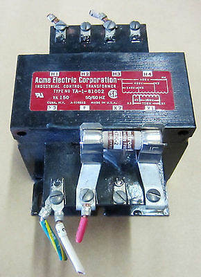 ACME TA-1-81002 Industrial Control Transformer Fused 150va 50/60hz Used Take Out