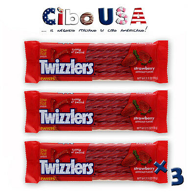 Caramelle TWIZZLER'S gusto FRAGOLA 3 x 70 G - MADE IN USA