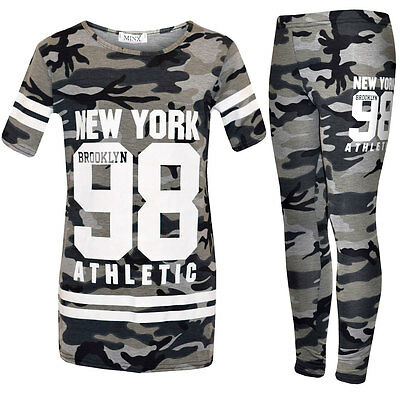 Girls Childrens Camouflage Print Top Leggings 2 3 4 5 6 7 8 9 10 11 12 13 Years