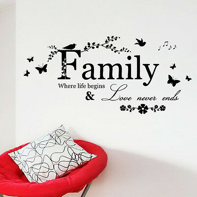 Family Bird Butterfly Art Vinyl Quote Decal Mural Room Home Decor Wall Sticker