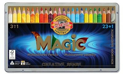KOH-I-NOOR Triangular Magic Multicolored Pencils 23 pcs + blender NEW 3408