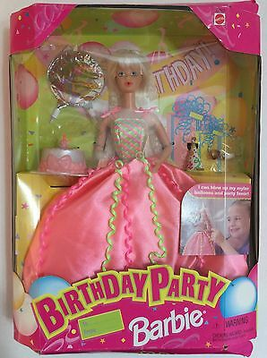Birthday Party Barbie Doll 1998 New in Box - Barbie Blows Up Balloons