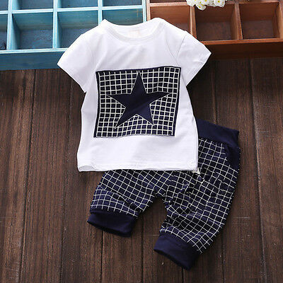 2pcs Kids Baby Boys Clothes T-shirt Top +Pants Summer Toddler New Outfits&Sets