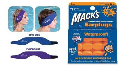 Macks Ear Band Swimming Headband & Swimming Putty Kids Earplugs 6 Pairs