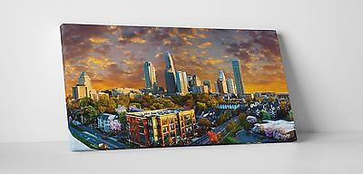"Charlotte NC Downtown Panoramic Skyline Gallery Wrapped Canvas Print. 45""x16"""