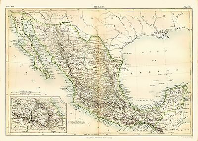 c1879 Color Map of MEXICO- Great Detail - Inset of Mexico City Area