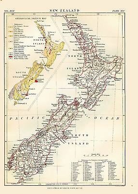 c1879 Color Map of NEW ZEALAND - Inset Map - Great Detail