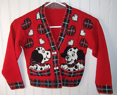 children's vintage child red DALMATIAN SWEATER Christmas dog sz 4-5 hearts  Ugly