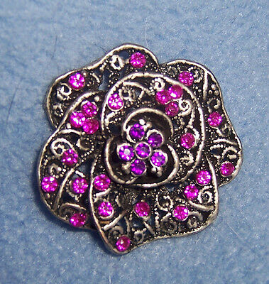 NEW Victorian vintage style silvertone PINK Purple Fuchsia flower PIN brooch WOW
