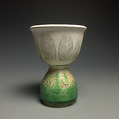 A rare chinese song porcelain green glazed carving winebowl bottle