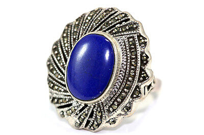 "B918 Lapis Marcasite Sterling Ring 9.8g 925 top 1 1/8"" across size 6 1/2"