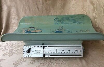 Vtg Health-O-Meter Stork Scale Mid Century Green Graphics Works Boy Baby Decor