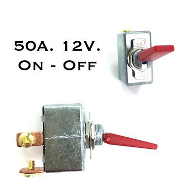12 Volt DC High Current Toggle Switch - Red handle (50 Amps)