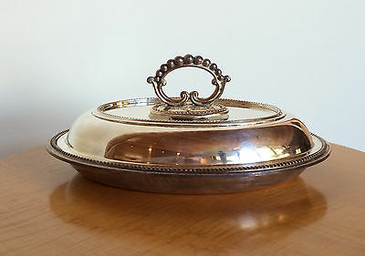 Antique English Silverplate Covered Convertible Serving Dish Silver Plated