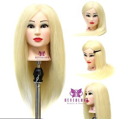 New 100% Hairdressing Training Head Practice Mannequin Golden Long Hair + Clamp