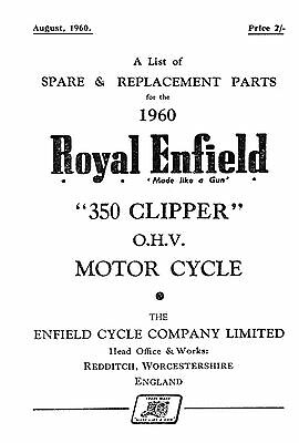 (1059) 1960 Royal Enfield model 350 Clipper parts book