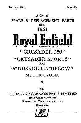 1961 Royal Enfield model Crusader 250, Sports & Airflow parts book