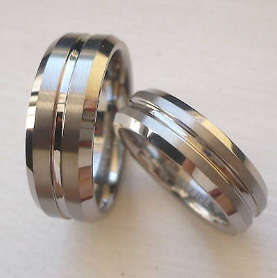 Tungsten Carbide His & Her Wedding Band Ring Set /size 5-14