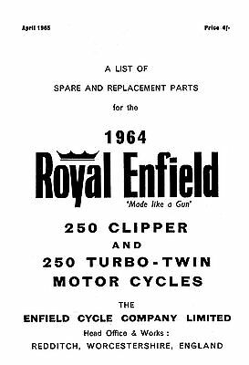 (1075) 1964 Royal Enfield model 250 Clipper & 250 Turbo Twin parts book