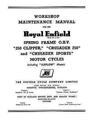 (1079) Royal Enfield frame Clipper/Crusader/Sports/Airflow workshop manual