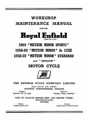 1958-1960 Royal Enfield Meteor Minor sports de-Luxe & Standard Workshop manual