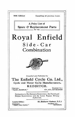 Royal Enfield Model 180 8hp side car combination parts book