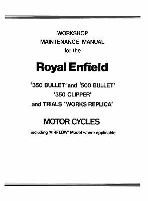 (1085) 1956-1962 Royal Enfield 350 500 Bullet & 350 Clipper workshop manual
